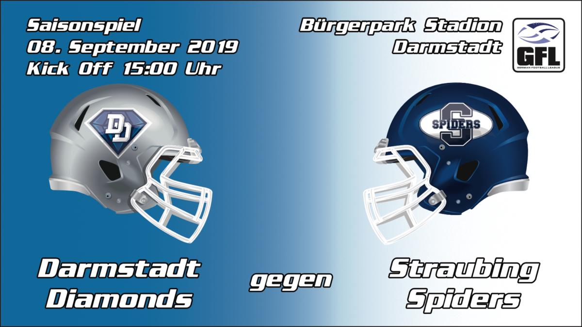 Darmstadt Diamonds Straubing Spiders 2019 HEimspiel Bürgerpark Stadion