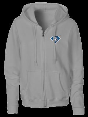 damen zipper hoodie grau