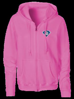 damen zipper hoodie rosa fanwear