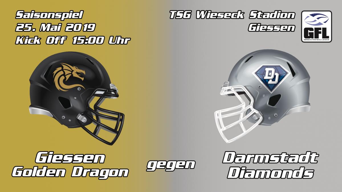 Gießen Golden Dragons Darmstadt Diamonds GFL2 TSG Wieseck Auswärtsspiel spiel Saarland