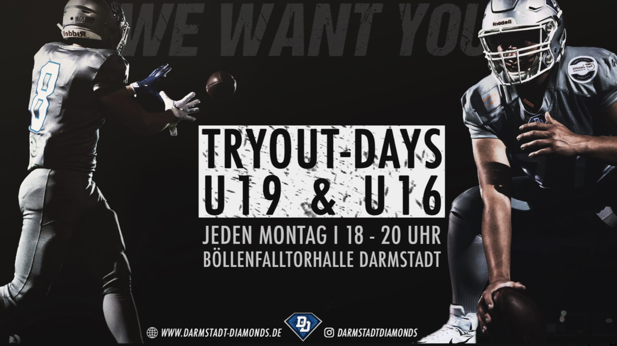 u19 u16 jugend american football tryout days